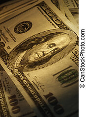 dollars - special warm photo f/x,focus point on the Franklin...