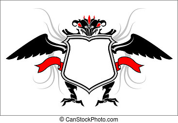 Banner. Daemon. Wind, banner, red eye. Black, white & red