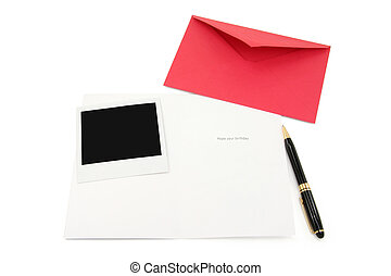 greeting card and red envelope, communication concept
