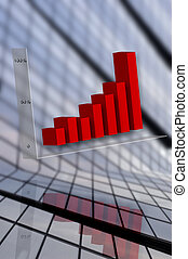 grapg - red business graph with building in background