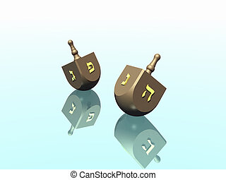 Dreidel - Hanukkah celebration Dreidel Jewish tradition 3D...