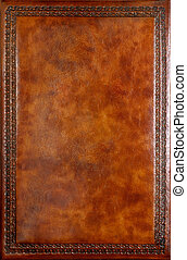 Book Cover - Brown leather book cover with decorative...