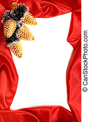 Christmas Frame - Red decorative christmas frame on white...
