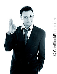 monochrome picture of friendly businessman showing ok sign...