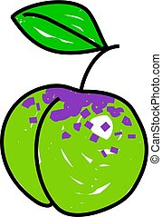 greengage plum isolated on white drawn in toddler art style