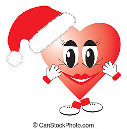 Christmas Heart - Valentine heart in christmas hat vector...