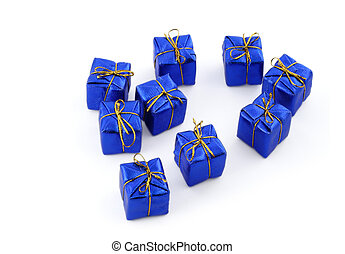 blaues, Gruppe, Geschenke, hintergrund,  #2, weißes