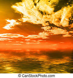 Sunset over ocean - Wonderful colorful sunset cloudy...
