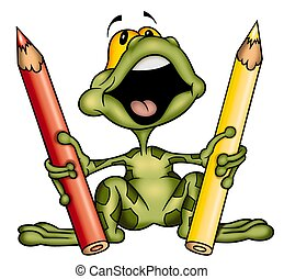 Frog with crayons - Frog 01 - High detailed illustration -...