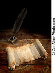Vintage Still Life - Vintage Manuscript and a quill in...