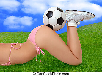 Soccer Girl - Sexy girl in bikini with soccer ball on her...