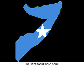 map of Somalia and Somali flag illustration