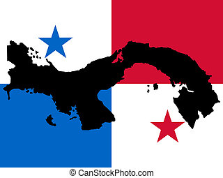 map of Panama and Panamanian flag illustration