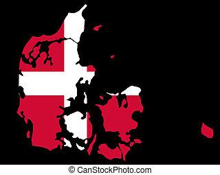 map of Denmark and Danish flag illustration