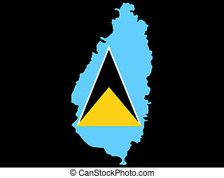 Map Of St Lucia and St Lucian flag