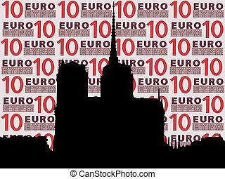 Notre Dame cathedral against ten euro note