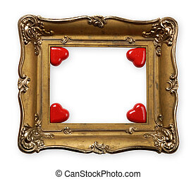 Valentines Day Frame - Old vintage metal photo frame with...