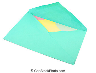 card and envelope - isolated greeting card inside green...