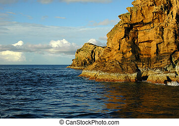 Islet on the ocean between two azores islands - Islet formed...