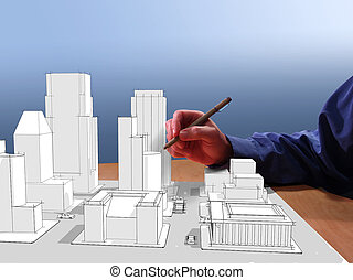 Architects Dream - Architect drawing a city in 3d on his...