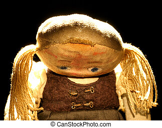 Old sad cloth doll - Picture of a old sad cloth doll. Dates...