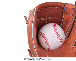 Baseball Being Caught In A Baseball Glove - A baseball being...
