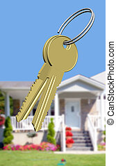 Keys to the dream house - Keys in front of a country house