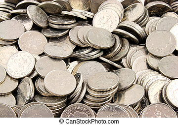 Money - 5 Pence Pieces - Stacks of Money on a white...