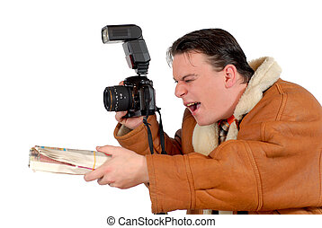 Young successful Press photographer, paparazzi with paper...
