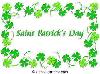 Saint Patricks Day - Green four leaf clover, version with...