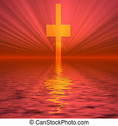 Cross Rising - Red sunrise with cross rising from water.