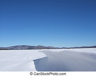 snow drift on a lake