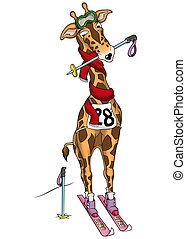 Giraffe skier - High detailed and coloured illustration