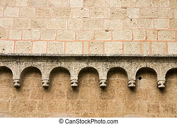Romanesque wall detail - Romanesque cloister wall of the...