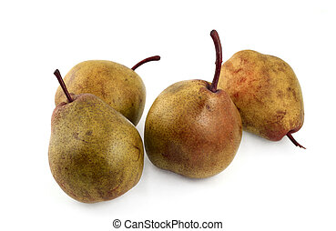 ripe pears on white