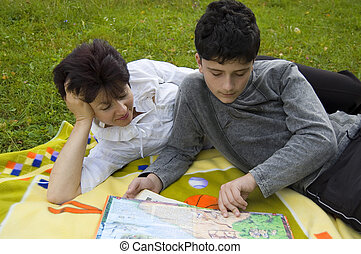mother and son - the mother and son read the books