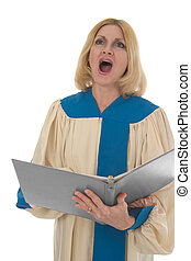 Female Choir Member 3 - Blond woman in a choir robe holding...