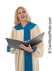 Female Choir Member 2 - Blond woman in a choir robe holding...