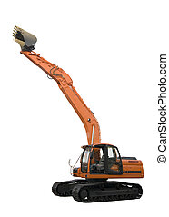 isolated excavator - excavator isolated on perfectly white...