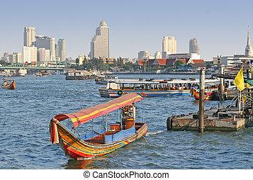 Bangkok River - Scenic view of the Chao Praya River in...