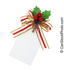 christmas tag tied with clipping path - A white blank...