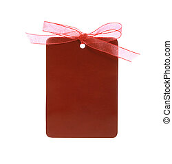 red gift tag tied with ribbon with clipping path - A red...