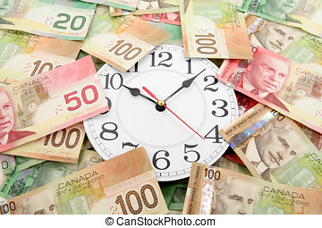 wall clock and canadian dollars, concept of time is money