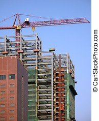 Large Scale Construction - -- with crane and scaffolding
