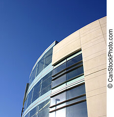 modern architecture taken against a brilliant blue sky