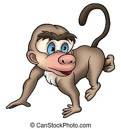 Walking monkey - Monkey 01 - High detailed and coloured...