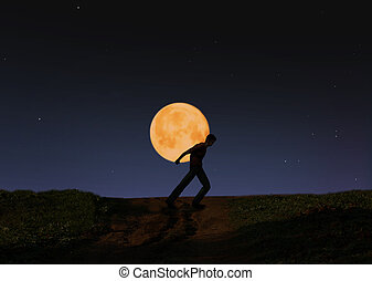 proceso de llevar, luna