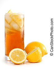 Iced tea - Glass of lemon cold iced tea with lemons on white...