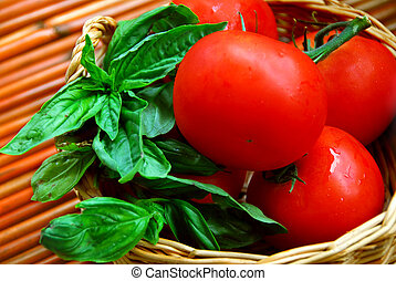 Tomatoes and basil - Fresh tomatoes and green basil in a...