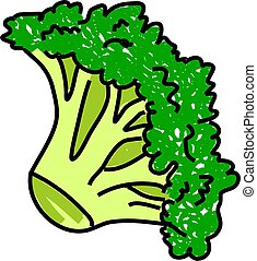 broccoli isolated on white drawn in toddler art style